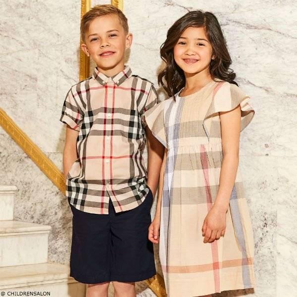 BURBERRYBoys Beige New Classic Check Shirt Girls Dress