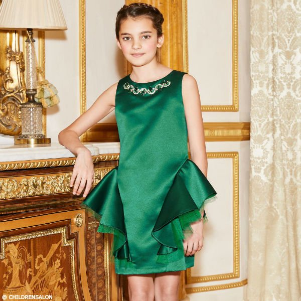 DAVID CHARLES Girls Emerald Green Satin Dress