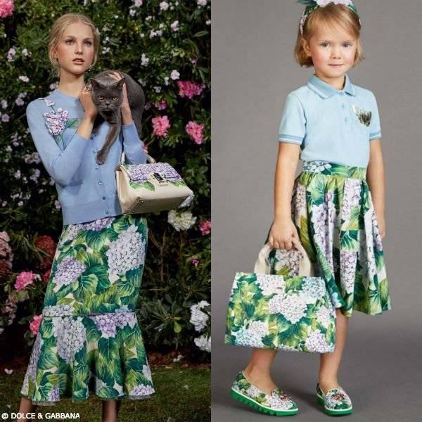 DOLCE GABBANA Girls Mini Me Ortensia Cotton Skirt