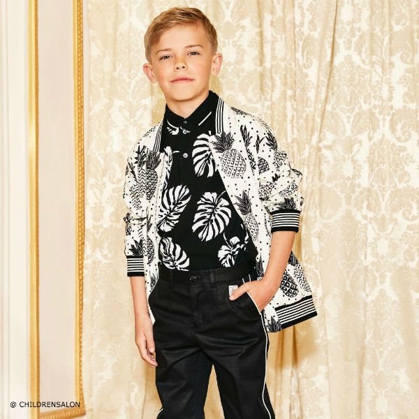 DOLCE GABBANA Boys Ivory Bomber Jacket with Black Pineapples