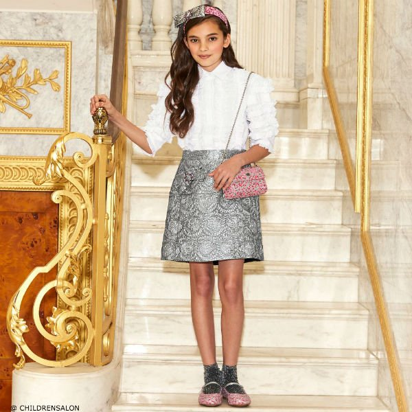DOLCE & GABBANA Girls Silver Jacquard Skirt with Jewel Bow &  White Tropical Italiano Blouse