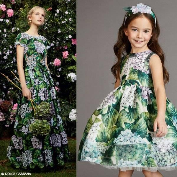 DOLCE & GABBANA Girls Mini Me Ortensia Hydrangea Silk Dress