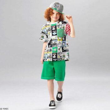 FENDI Boys Space Comic Cotton T-Shirt