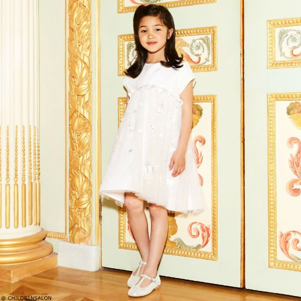 FENDI Girls Ivory Silk Tulle Dress