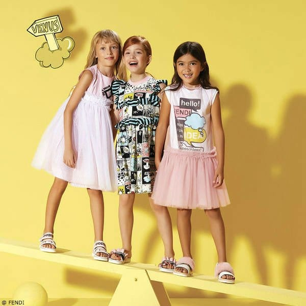 FENDI Girls Monster Space Cartoon Strip Silk Cotton Dress