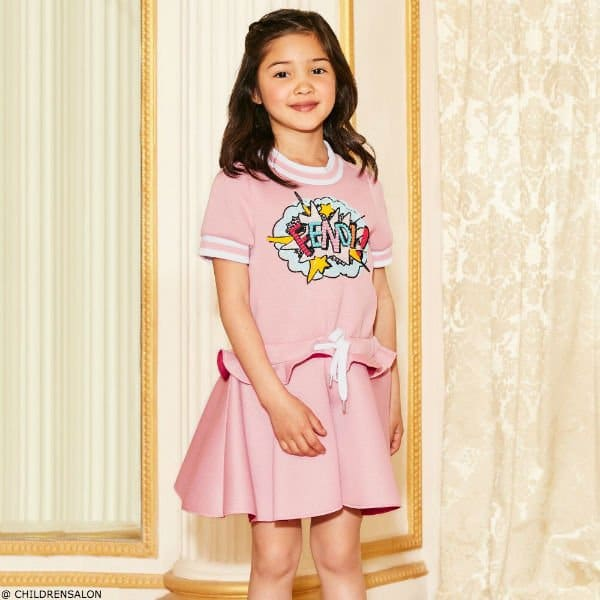 FENDI Girls Pink Sequined Neoprene Dress