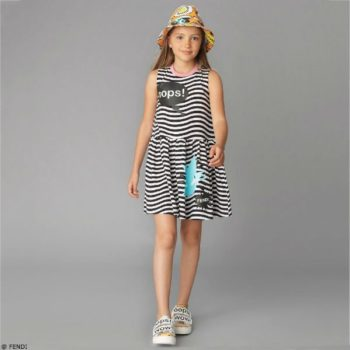 Fendi Girls Black White Striped Oops Dress