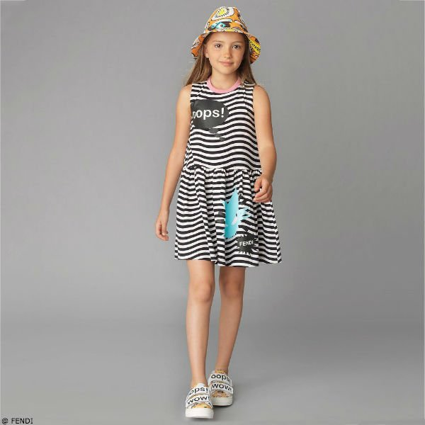Fendi Girls Black White Striped Oops! Dress
