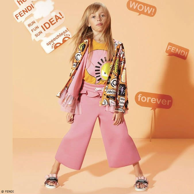 Fendi Girls Orange Speech Bubble Jacket and T-Shirt