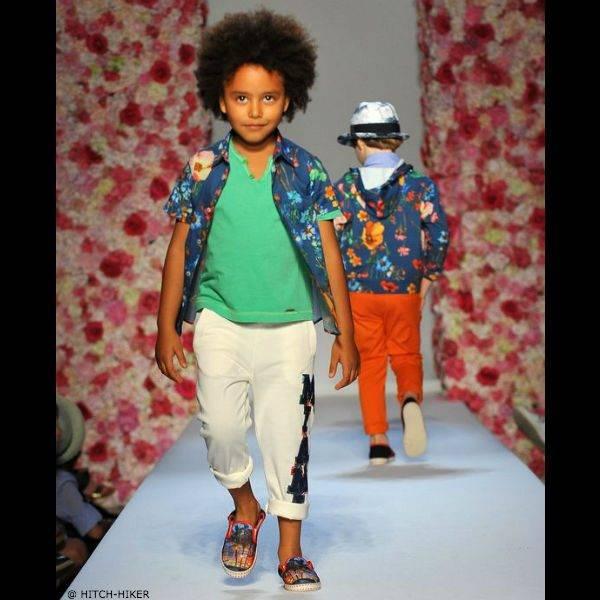 HITCH-HIKER Boys Blue Cotton Flower Shirt
