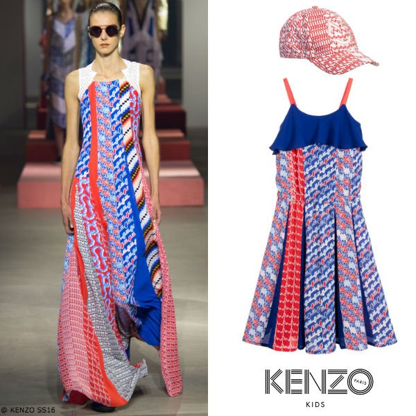 Kenzo Girls Mini Me Blue Red Retro Diagonal Stripe Dress