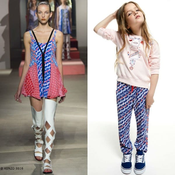 Kenzo Girls Mini Me Striped Diagonal Retro Print Pants & Pink Jewelry Sweatshirt