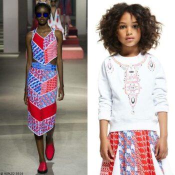 Kenzo Girls Mini Me Diagonal Retro Stripes Skirt & Girls White Jewelry Sweatshirt