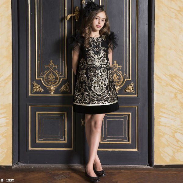 LESY Girls Black & Gold Special Occasion Dress