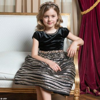 LESY Girls Black & Gold Special Occasion Velvet Dress