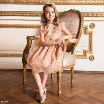 LESY Girls Pink & Gold Satin & Lace Dress