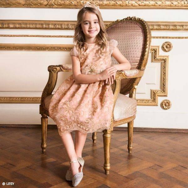 LESY Girls Pink & Gold Satin & Lace Dress
