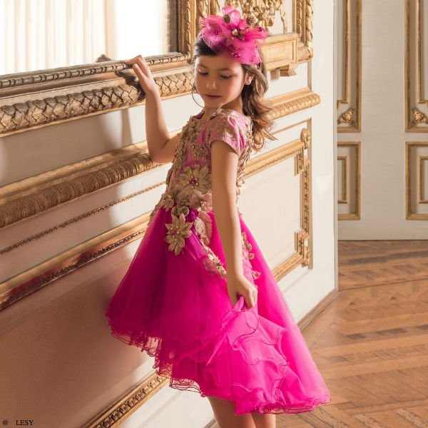 LESY Girls Pink & Gold Tulle Special Occasion Dress
