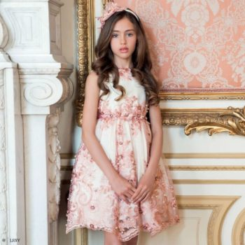 LESY Girls White & Pink Lace Dress