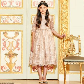 LOVE MADE LOVE Girls Rose Gold Lace Dress