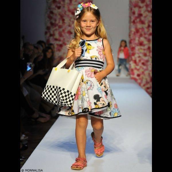 MONNALISA BIMBA Girls White Minnie Mouse Dress