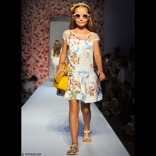 MONNALISA CHIC Girls Floral Dress with Jeweled Necklace