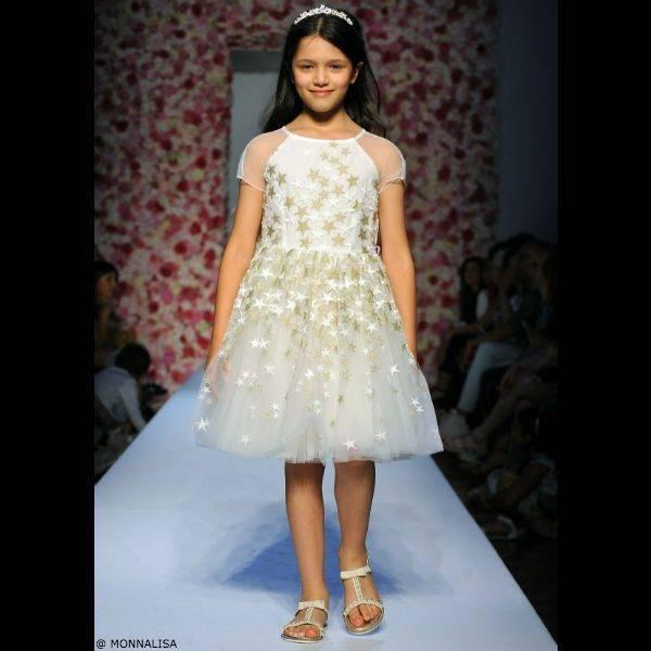MONNALISA CHIC Girls Gold Star Embroidered Dress
