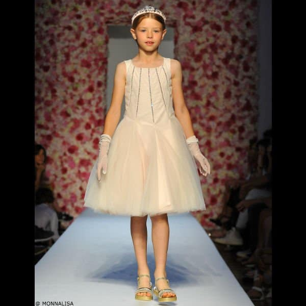 MONNALISA CHIC Girls Pale Pink Tulle & Diamante Dress