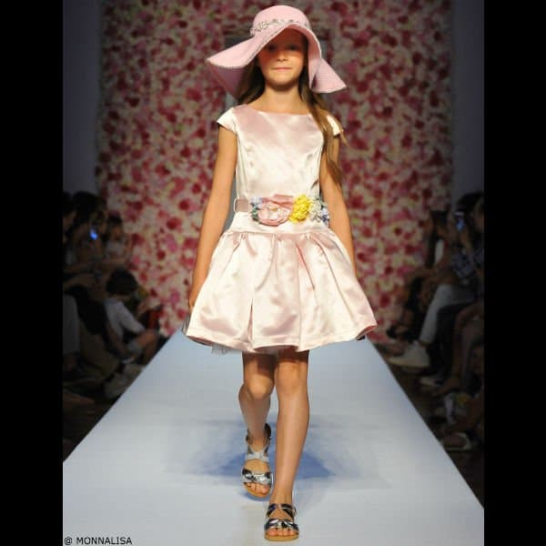 MONNALISA CHIC Girls Pink Satin Dress