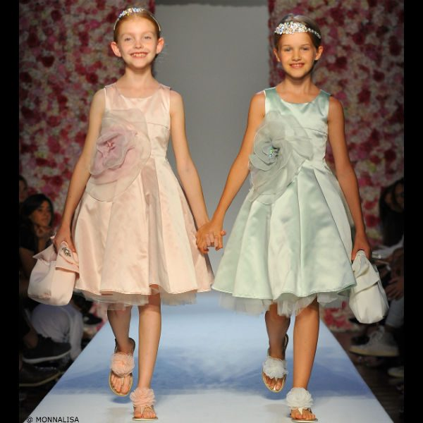 MONNALISA CHIC Girls Pink or Green Satin Dress with Floral Applique