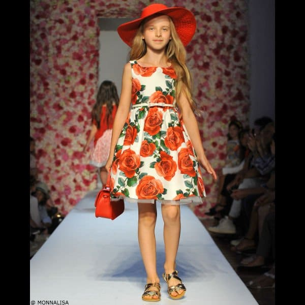 MONNALISA CHIC Girls Red Roses Dress & Belt