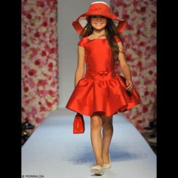 MONNALISA CHIC Girls Red Sateen Dress & Belt