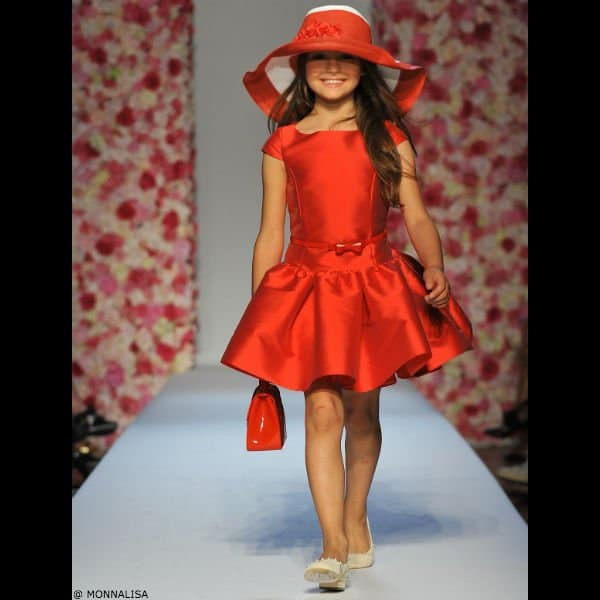MONNALISA CHIC Girls Red Sateen Dress & Belt
