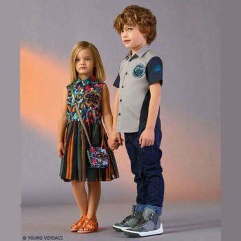 YOUNG VERSACE Girls Floral Shirt Dress and Boys Button Down Shirt