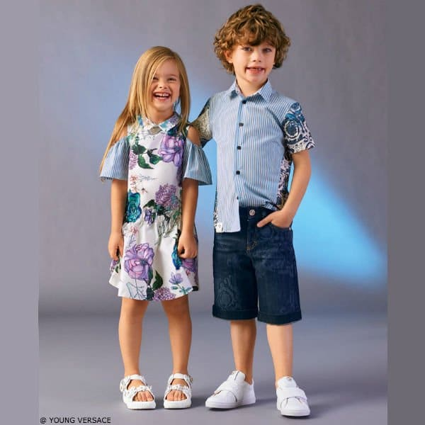 YOUNG VERSACE Girls White Floral Print Silk Dress & Boys Boys Blue Stripe Baroque Cotton Shirt
