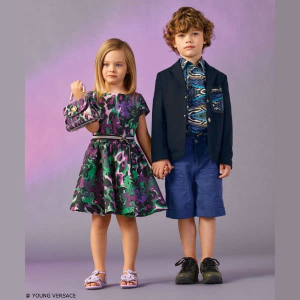 Young Versace Girls Purple & Green Animal Print Dress and Boys Tribal Shirt