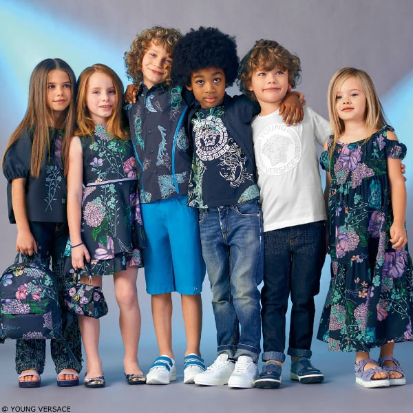 Young Versace Girls Navy Floral Dress & Boys Borocco Print Shirt