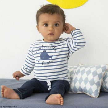 ABSORBA Baby Boys Blue Whale Stripe Shirt & Denim Outfit