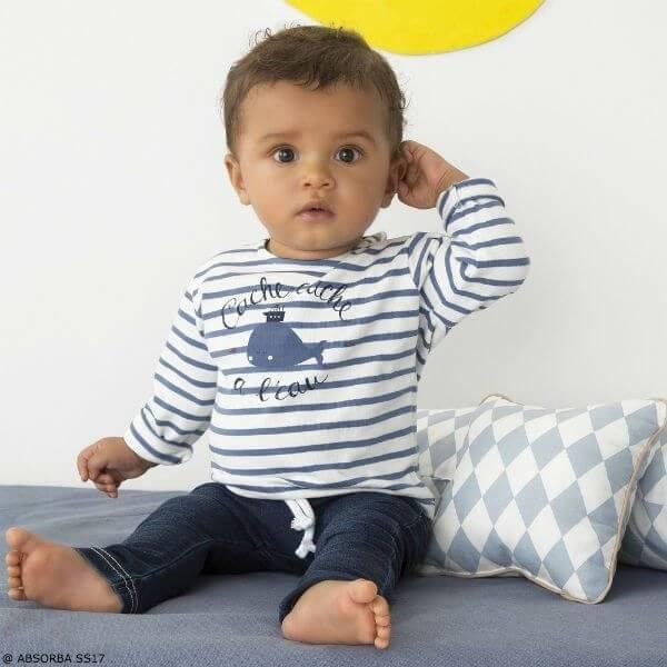 ABSORBA Baby Boys Blue Whale Stripe Shirt & Denim Outfit