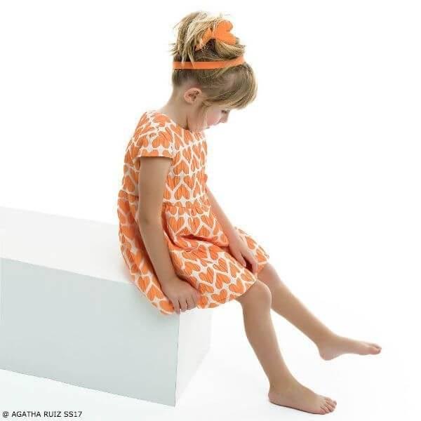 AGATHA RUIZ DE LA PRADA Girls Orange Hearts Dress
