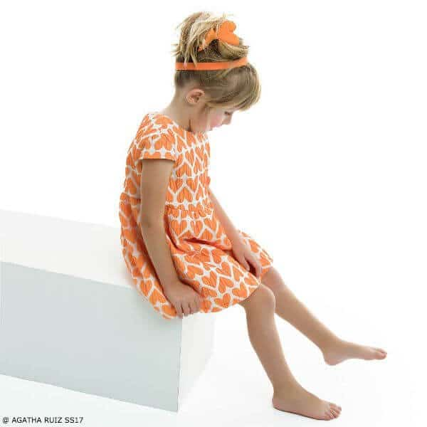 AGATHA RUIZ DE LA PRADA Girls Orange Hearts Dress