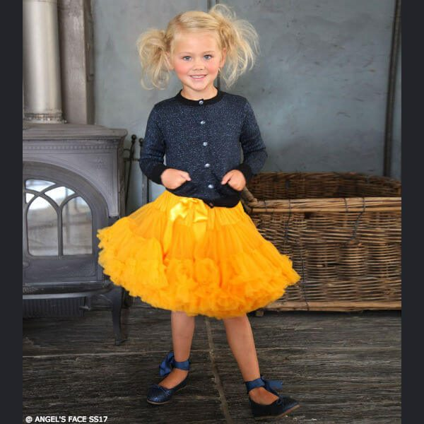 ANGEL'S FACE Marigold Orange Chiffon Frilled Tutu Skirt & Glitter Grey Cardigan