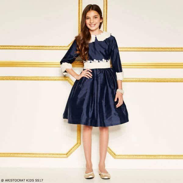ARISTOCRAT KIDS Girls Blue Silk Opera Special Occasion Dress