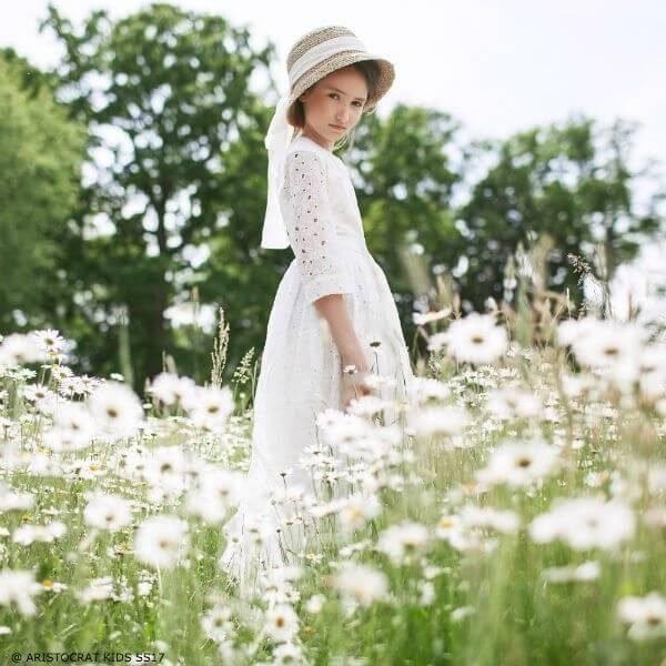 ARISTOCRAT KIDS Girls White 'Royal Daisy' Broderie Anglaise Dress