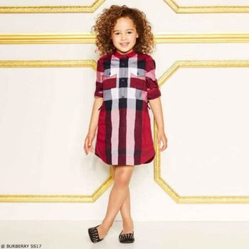 BURBERRY Girls Red Check Shirt Dress