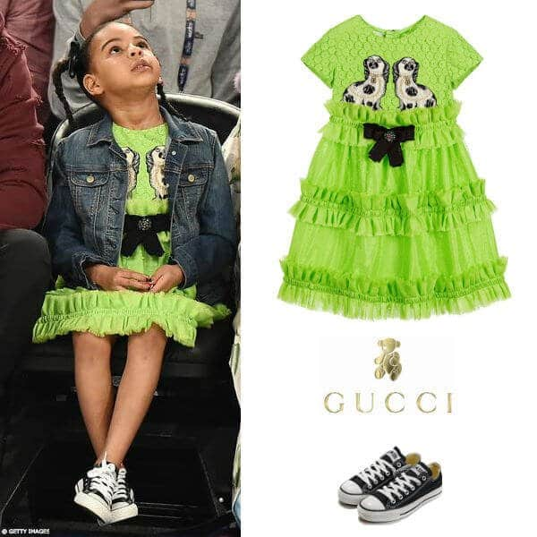 Blue Ivy Carter - Gucci Girls Mini Me Green Broderie Anglaise Dres