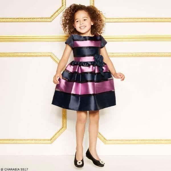 CHARABIA Girls Blue & Purple Striped Party Dress