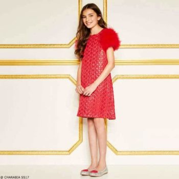 CHARABIA Girls Red Quilted Dress with Feathers