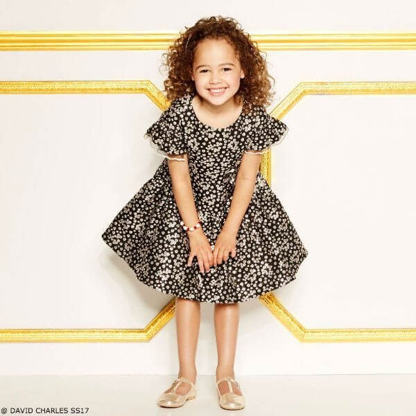 DAVID CHARLES Girls Black & Gold Flower Party Dress