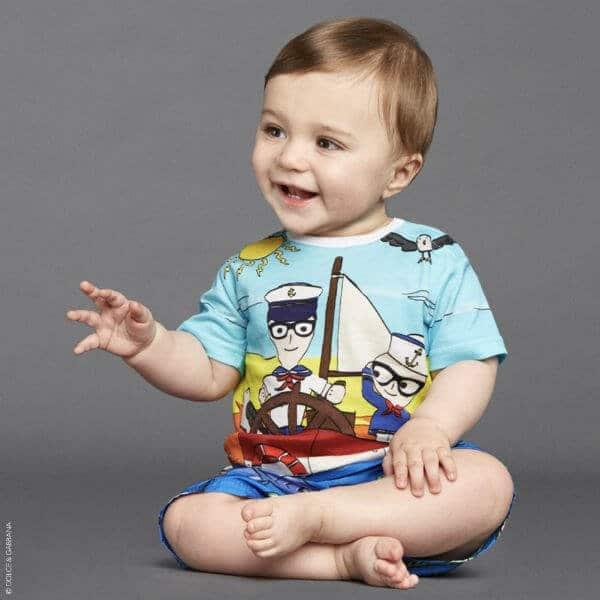 DOLCE & GABBANA Baby Boy Blue Junior DG Family Sailors T-Shirt